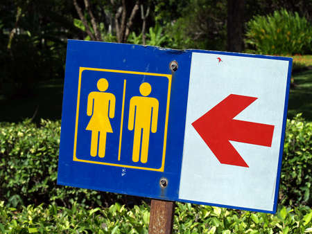 Male and female toilet signs in the park photo