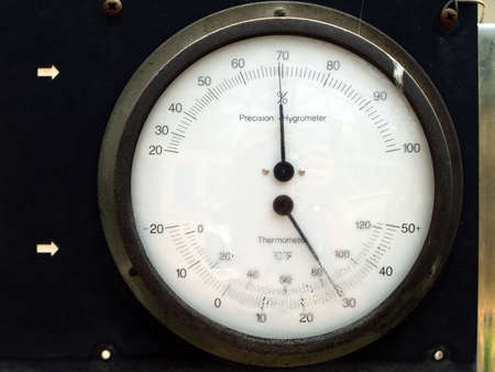 hygrometer: Hygrometer and thermometer Instrument for measuring air humidity and temperature Stock Photo
