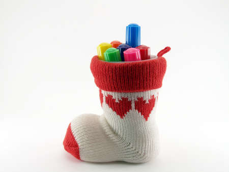 pen holder: pen holder made from sock and a plastic cup