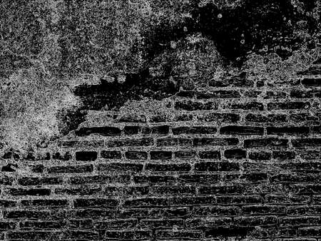 terrible: terrible wall, Background pattern of the old brick wall, process imitation pen strokes white on black Stock Photo