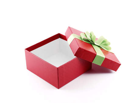 red gift box: open red gift box with green ribbon on white background