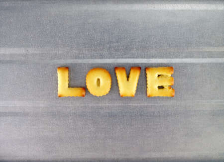 oven tray: love word, biscuit cookies letters on oven tray