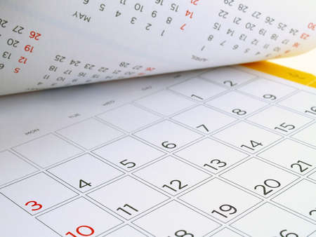 desk calendar with days and dates in July 2016, flip the calendar page Stock Photo