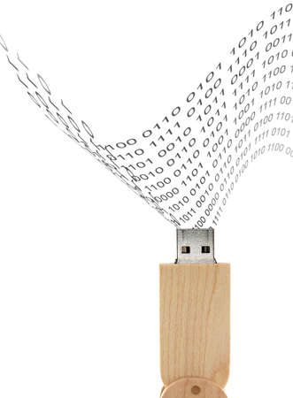 usb flash drive wood design and binary-coded decimal, connected devices for storage and transferring digital data isolated on white background, technology concept
