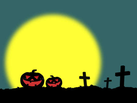 silhouette of three cross on grave and two halloween pumpkins (jack o lantern) in cemetery with yellow full moon on dark green background