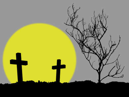 grave, silhouette of two cross and dead tree in cemetery with yellow full moon on gray background
