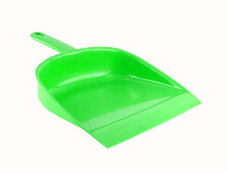close-up green dust pan isolated on white background, cleaning tool works with brush or broom for clean up Stockfoto - 97997633