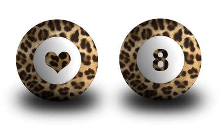 Billiard pool balls in leopard fur Imagens