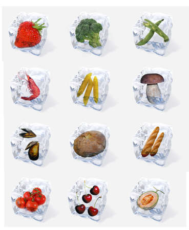 Bundle of food in ice cubes