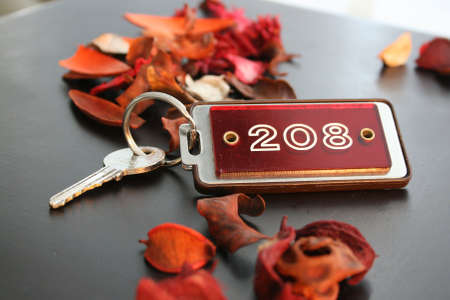 hotel room door: Hotel key with red key holder surrounded by red dry flowers