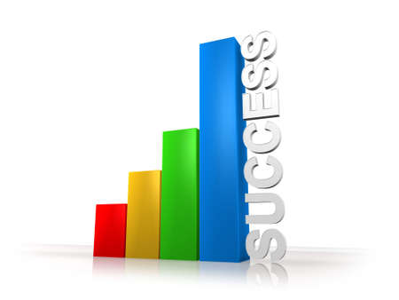 3d colored graph bars with word success photo