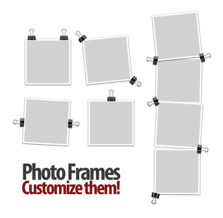 white polaroids: Empty photo frames with clips isolated on white background