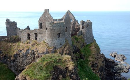 northern: Dunluce Castle in Northern Ireland Stock Photo