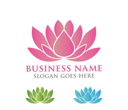 beautiful lotus flower vector logo design  イラスト・ベクター素材