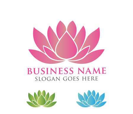 beautiful lotus flower vector logo design Vettoriali