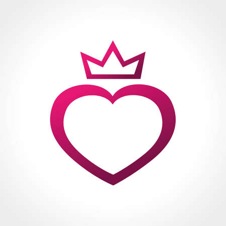 pink heart symbol icon with crown