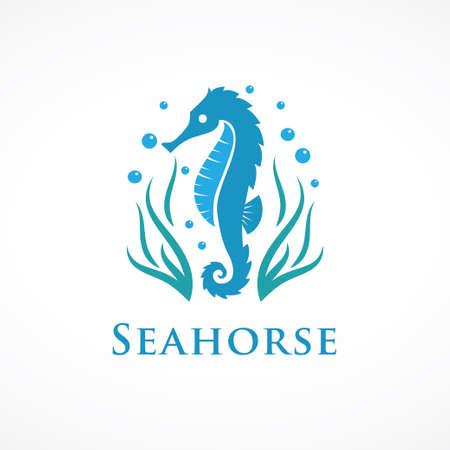 logo konika morskiego z wodorostami i bąbelkami Logo