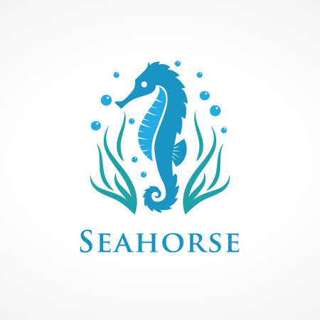 seahorse logo with seaweed and bubbles