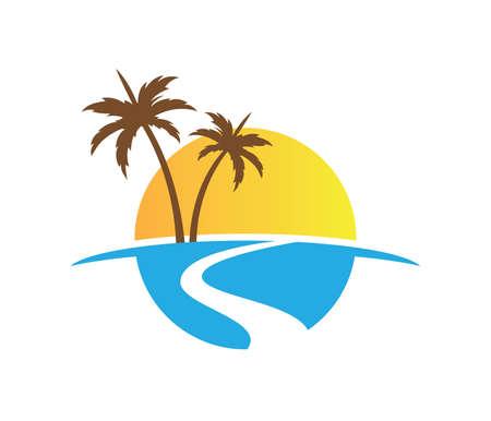 sun beach ocean wave palm coconut tree vector logo design 일러스트