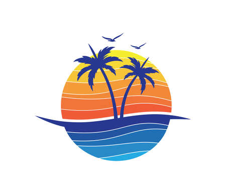 sun beach ocean wave palm coconut tree vector logo design Illustration