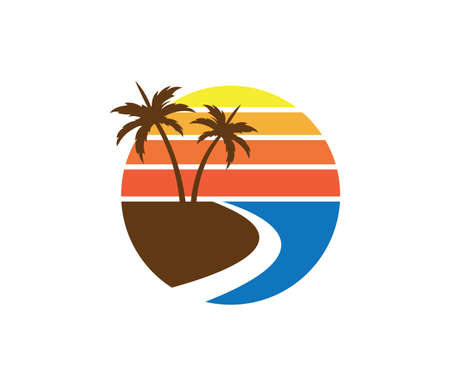 sun beach ocean wave palm coconut tree vector logo design Çizim