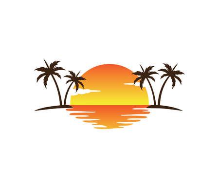zachód słońca palmy kokosowe plaża wektor logo projekt