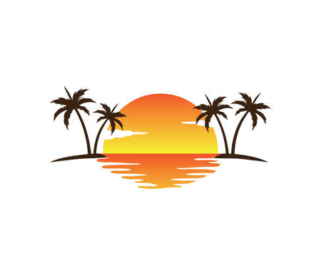 sunset palm coconut tree beach vector logo design Stock Illustratie