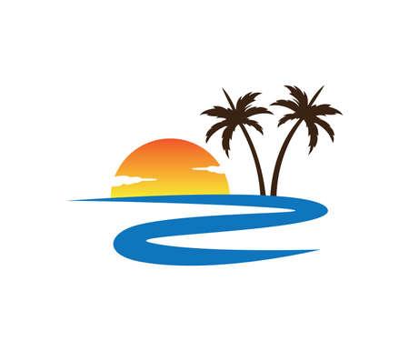 강 일몰 팜 코코넛 나무 비치 벡터 로고 디자인