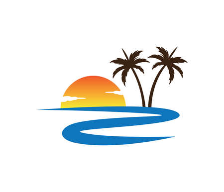 river sunset palm coconut tree beach vector logo design