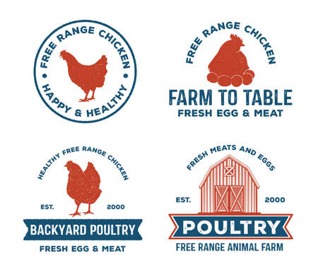 vintage retro vector label badge design set of farm, poultry, chicken, hen, rooster, livestock, cock weather. red and blue color 免版税图像 - 93646948