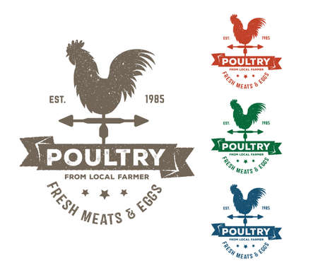 vintage retro vector label badge design set of farm, poultry, chicken, hen, rooster, livestock, cock weather. Çizim