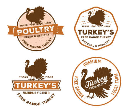 vector vintage badge label logo of poultry, farm, meat shop, butcher, turkey livestock free range local farm.