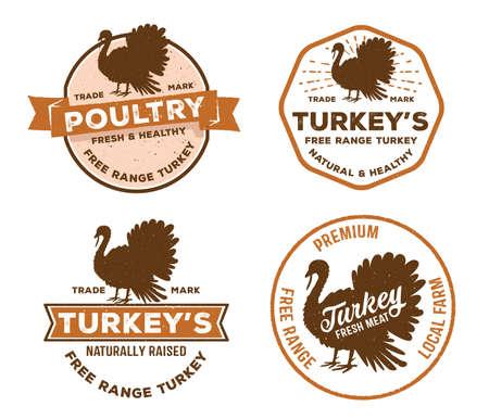 vector vintage badge label logo of poultry, farm, meat shop, butcher, turkey livestock free range local farm.