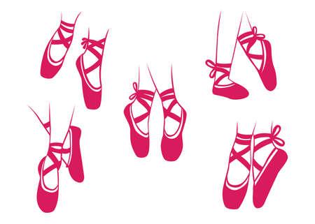 벡터 일러스트 레이 션의 발레 발레리 나 춤, 신발, 수행, 작업 쇼.