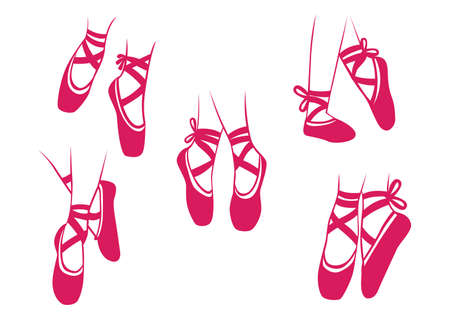 Vector illustration of ballet ballerina dancing, shoes, perform, action show. Ilustracja