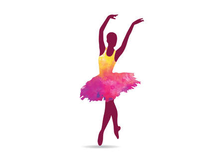 Vector illustration of ballet ballerina dancing, shoes, perform, action show. Ilustração
