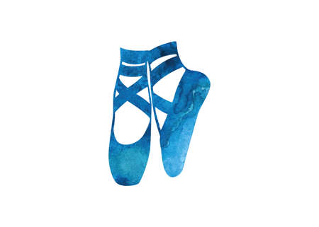 Blue water color ballet shoes icon illustration on white background.  イラスト・ベクター素材