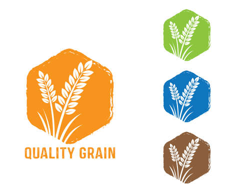 polygon shape vector design label, sign, tag of quality whole grain wheat, wheat seed, crop, farm, bakery and baking shop