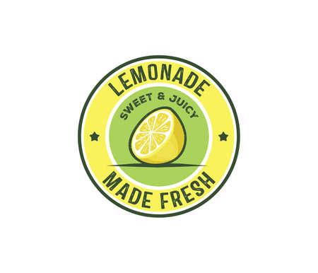 Vector design badge, label, icon of lemonade beverage. Lemon syrup, lemon juice made fresh and sweet. Illustration