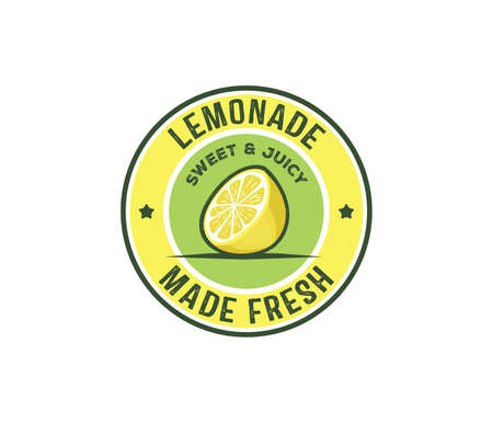 Vector design badge, label, icon of lemonade beverage. Lemon syrup, lemon juice made fresh and sweet. Stock Illustratie