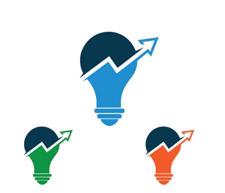 Vector logo design for smart investor investment, chart inside light bulb, smart stock exchange idea Illustration
