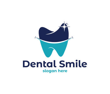 vector logo design illustration perfect suitable for dental clinic healthcare, dentist practice, tooth treatment, healthy tooth and mouth, and more Vectores