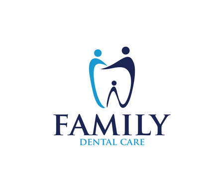 vector logo design illustration perfect suitable for dental clinic healthcare, dentist practice, tooth treatment, healthy tooth and mouth, and more Stock Illustratie