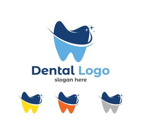 vector logo design illustration perfect suitable for dental clinic healthcare, dentist practice, tooth treatment, healthy tooth and mouth, and more Vettoriali