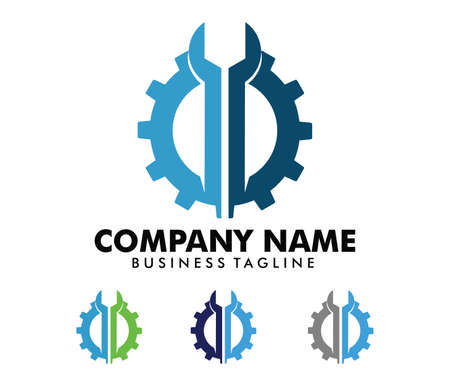 Vector logo design for automotive business, technical industry, car maintenance, smart idea engine, machinery, camera photography, electricity power Illustration