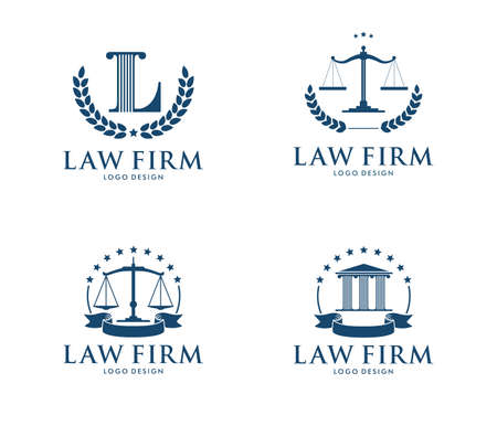 This is vector icon design illustration. Perfectly for branding like law firm business, attorney, advocate, court justice and everything related. Иллюстрация