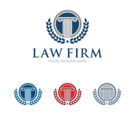 This is vector icon design illustration. Perfectly for branding like law firm business, attorney, advocate, court justice and everything related. Stock fotó - 94586436
