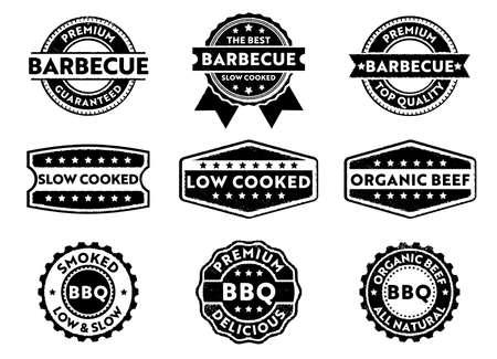 este rótulo de distintivo de selo de vetor é perfeito adequado para marketing vendendo produto de churrasco, carne premium, baixa baixa cozida, orgânica, qualidade superior premium Ilustración de vector