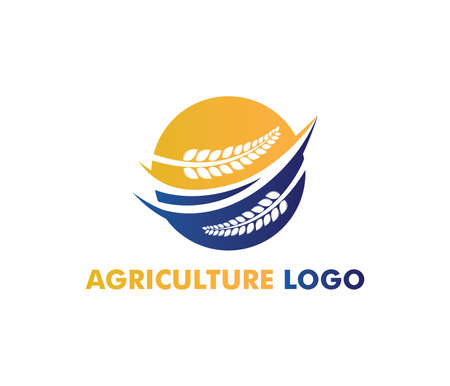 vector logo design perfectly suitable for agriculture, agronomy, wheat farm, rural country farming field, natural harvest, farmer association and more