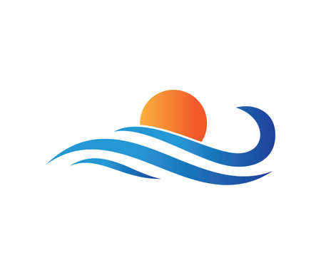 vector icon design perfectly suitable for dynamic wave, ocean sea water wave home resort, sailing boat, ocean cruise tour company and business Illustration
